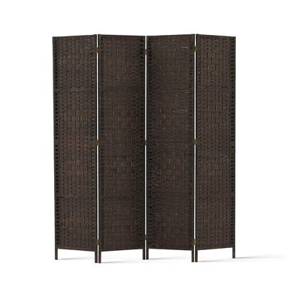 Artiss 4 Panel Room Divider Privacy Screen Rattan Dividers Stand Fold Wove Brown