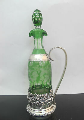 Emerald Green BOHEMIAN Glass Silver Grapes WINE Carafe Pitcher w/Stopper England