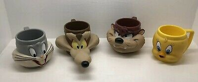 Lot of 4 Vtg 1992 LOONEY TUNES 3D Mugs Cups Coyote Bugs Bunny Taz Tweety