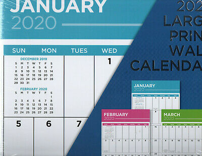 2020 BIG LARGE PRINT GRID WALL Calendar12X11 includes 9 > 12 2019 ROOM for NOTEs