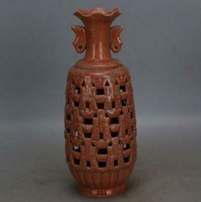 chinese old handmade Red glaze porcelain Two ears Hollow out bottle 06809