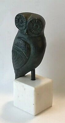 "Small Vintage Bronze OWL Figurine on a Square White Marble Stand 3-3/4"" Tall"