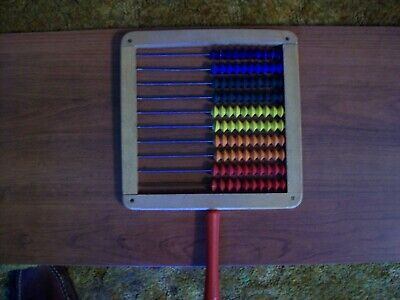 """Abacus - Antique 1940's hand held 10 rows 8.25 X 8.25"""" used in elementary school"""