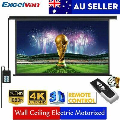 """100"""" 16:9 3D Electric Motorized HD Projector Projection Screen Cinema Theater AU"""