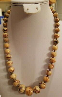 """Vintage Chinese Tiger Coral Necklace Graduating Bead 18.5"""" L 16mm"""