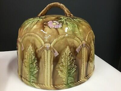 Antique Majolica Porcelain Hand Made Large Cheese Dome Dish Lid Cover