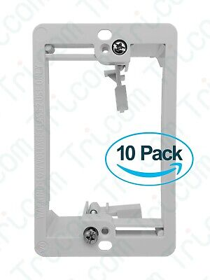 10x Tricom Single 1-Gang Low Voltage Wall Plate Mounting Bracket - White - Lot