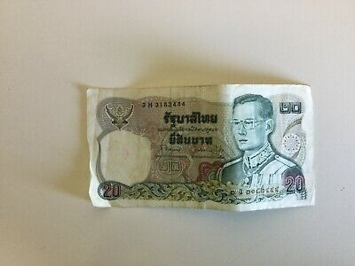 Old Thailand Banknote 20 Baht King Rama The 9th