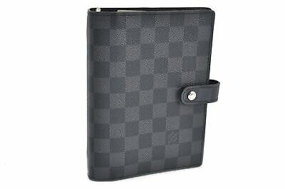 Auth Louis Vuitton Damier Graphite Agenda MM Day Planner Cover R20242 LV 80938