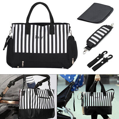 Baby Changing Bags Maternity Large Nappy Bag Mummy Diaper Tote 5PC - Black White