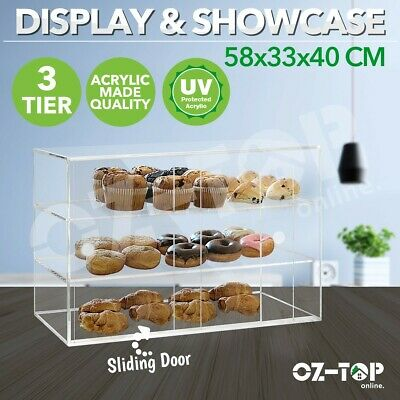 3Tier Cake Display Cabinet Acrylic Bakery Muffin Cupcake Donut Pastries Showcase