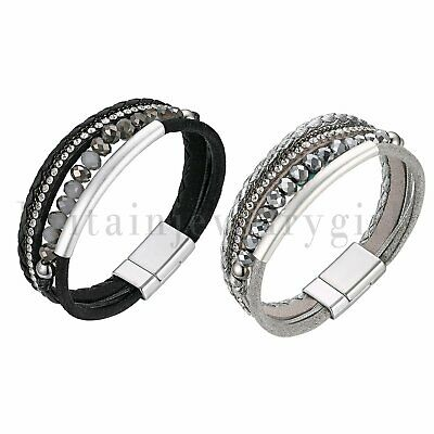Women Multi-layer Leather Magnet Wrap Cuff Charm Bracelet Braided With CZ
