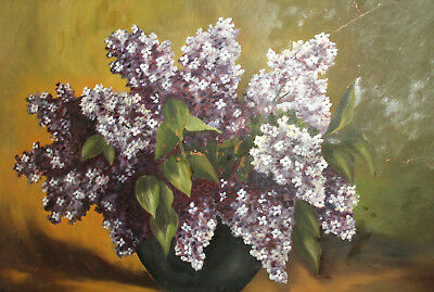 Antique Oil Painting Floral Still Life With Flowers