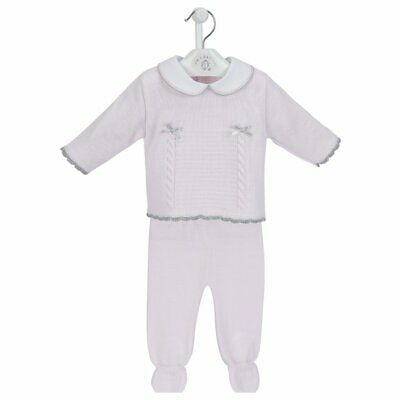 Newborn Baby Girl Pretty Pink Spanish Knitted Bow Jumper & Leggings Set Outfit
