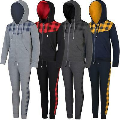 Kids Tracksuit Checked Print Detail Boys Contrast Hood Girls Zip Fastening 3-14Y