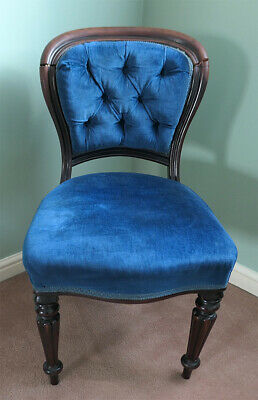 Antique Victorian balloon back upholstered padded SINGLE mahogany dining chair