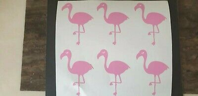 10 x Pink Flamingos 7cms by 5cms Vinyl Decal Stickers Glasses Crafts F.P