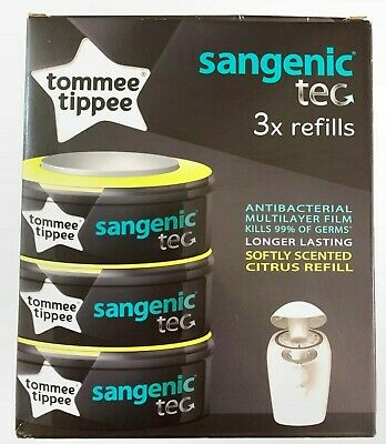 Tommee Tippee Sangenic Tec 3x Refills Nappy Disposable Bags Citrus Scent