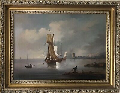 RUIG Continental School Fine Antique 19th Century OIL PAINTING Ships Nautical