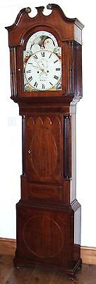 Antique Inlaid Mahogany Moon Phase Longcase Grandfather Clock J FLETCHER CHESTER