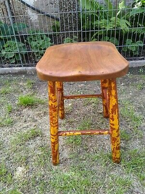 Vintage original shabby chic wooden stool