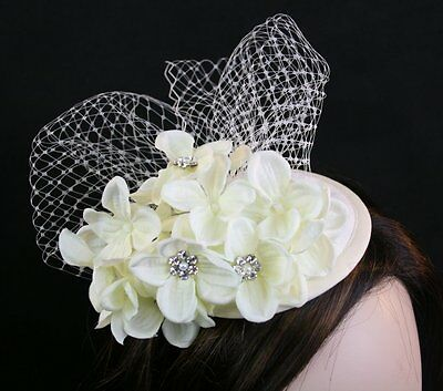 Ivory Wedding Hat Ivory cocktail hat Flower Fascinator Hat Birdcage Veiling Hat