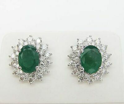 1.90ct NATURAL ROUND DIAMOND EMERALD GEMSTONE 14K SOLID WHITE GOLD STUD EARRING
