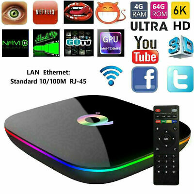 SMART TV BOX Q-PLUS ANDROID PIE 9.0 4GB RAM 64GB 6K Iptv dazn WIFI NEW