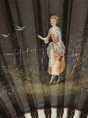 ANTIQUE FRENCH FAN Hand Painted Signed E. Bayard Pretty Lady Flower Garden Birds