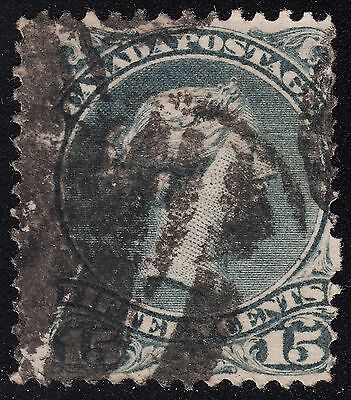 Canada 15c Large Queen, Scott 30, F used, catalogue -$50