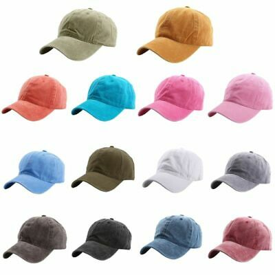 Men Plain Washed Cap Style Adjustable Cotton Baseball Cap Blank Solid Hat Casual