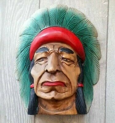 "VINTAGE OLD WOODEN HAND CARVED NATIVE AMERICAN INDIAN CHIEF HEAD Retro 12"" High"