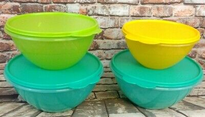 Tupperware Wonderlier 4 pc Set Mix,Store Lime Green Light Blue,Yellow~12,8,6 Cup