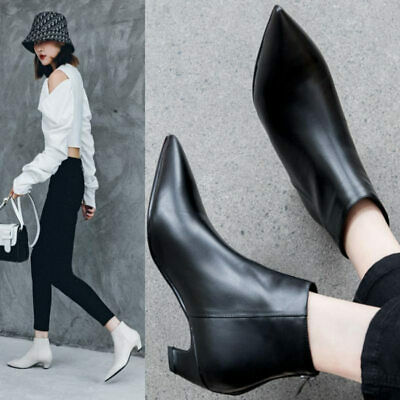 Women Cow Leather Ankle Boots Pointed Toe Kitten Heel Oxfords Casual Party Shoes