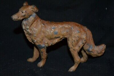 Vtg Metal Borzoi Russian Wolfhound Standing Dog Figurine Org Paint Germany
