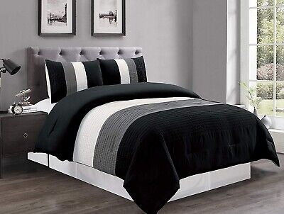 Black/White/Grey Pin Tuck Stripe Regatta Down Alt Comforter Set CAL King Size