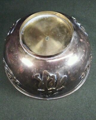 Large Antique Vintage Brass Bowl Asian Hong Kong Raised Oriental Characters Clad