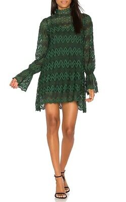 Free People Womens Simone Green Lace Bell Sleeves Mini Party Dress XS BHFO 4070