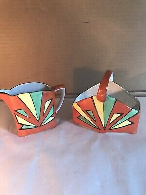Art Deco Style Vintage Hand Painted In Japan Sugar And Creamer