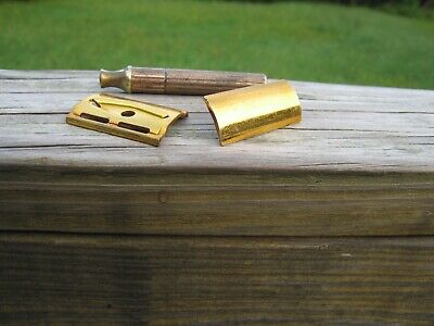 Nice 1946-1949 Gillette Fat Handle Tech DE Safety Razor Gold Tone