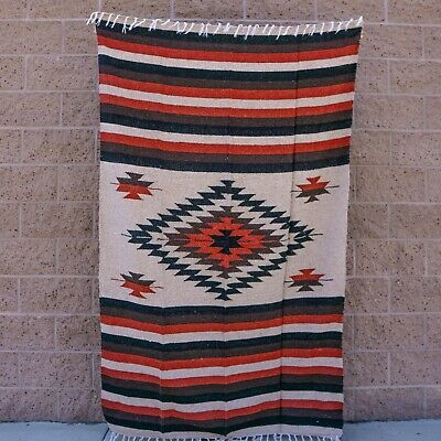 Mexican Blanket Tan Orange Black Brown Style Diamond XL Thick Yoga Mat Baja