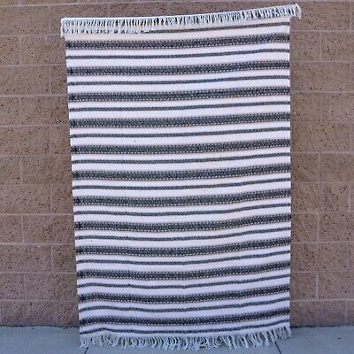 Mexican Blanket Vintage Baja Blanket Mexican Throw Yoga Blanket Diamond Black