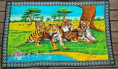 Vintage Tigers Tapestry Wall Hanging Rug 52 x 32 Inches