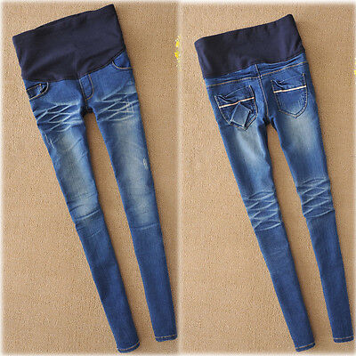 Maternity Over Bump Skinny Jeans Trousers Pants Pregnancy Comfy 6 8 10 12 14 16