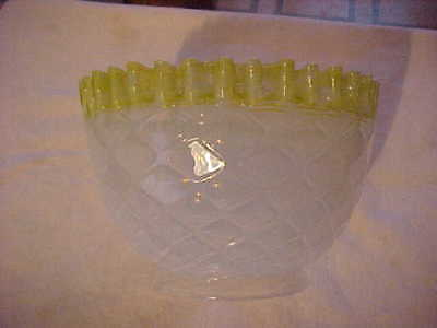 Diamond Quilted OPALESCENT Yellow Top Art Glass Kerosene Oil Gas Lamp Shade