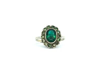 Antique 1920's Art Deco 9ct Gold & Sterling Silver Emerald Green Paste Ring
