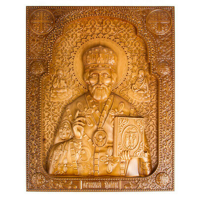 """14x18.5"""" Large Wooden Orthodox 3D Carved Christian Icon Nicholas Wonderworker"""