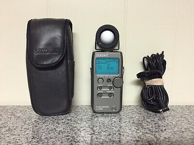 Sekonic L-358 Flash Master Digital Light Meter L358 with Sync Cable and Case EUC