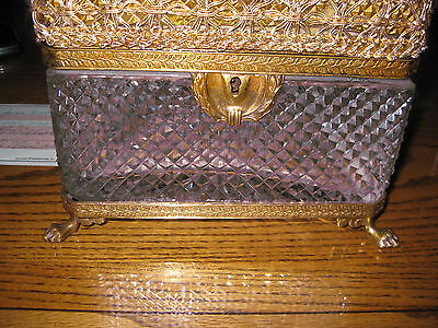Jewelry  Box Antique   Hand Cut Glass Lidded Crystal  Footed Gold   8 X 6 Hinged