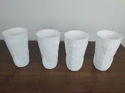 Set of 4 Colony Harvest Grape Milk Glass Iced Tea / Water Tumblers White [S7580]